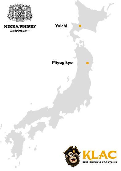 Carte des distilleries de la marque Nikka