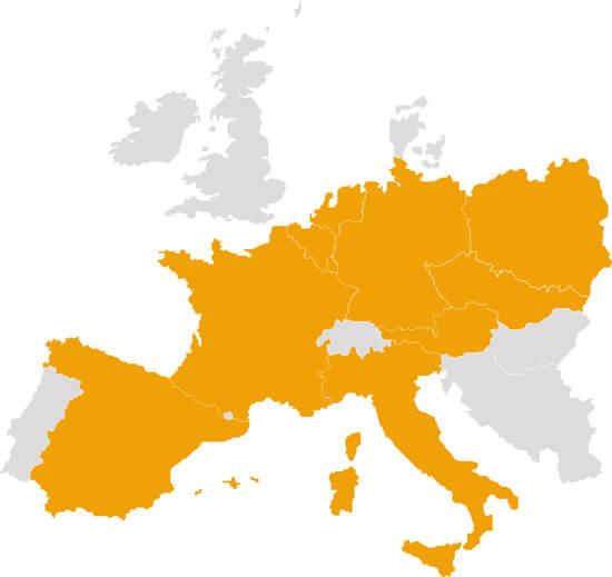 Carte des pays livrés par Klac